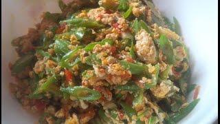 cara membuat Tumis Buncis Telur sederhana  (how to make a simple egg Sauteed Green Beans)