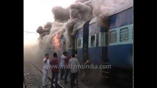 Train on fire at Delanga Station in Odisha's Puri district