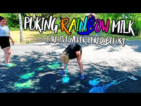 GIRLS RAINBOW MILK CHALLENGE (PUKE)
