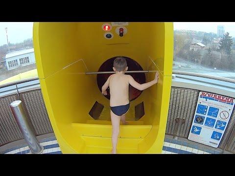 Yellow Switchback Water Slide at Aquapark Olomouc