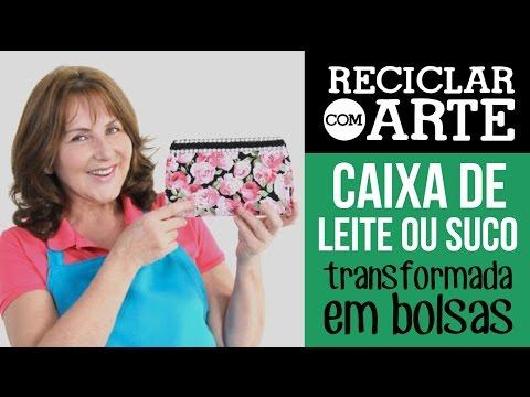 Bolsinha de caixa de leite Reciclar com Arte