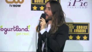 Jared Leto is asked about his band and acting backstage at the 2014 Critics