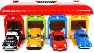 Toy Car Vehicles for Children Learn Colors with Garage Parking Playset for Kids and Toddlers
