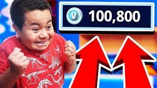 Kid gets SURPRISED with 100,000 V bucks in fortnite!! *not clickbait* PRICELESS REACTION!!!