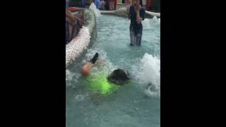 Girl gets pushed in fountain