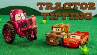 """Mater & Lightning McQueen GO Tractor Tipping Disney Pixar Cars """"Tractors is Dumb"""""""