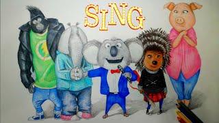 Drawing Sing Movie Characters (2016)- Buster, Ash, Rosita, Johnny, and Minnah
