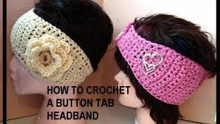 Download HOW TO CROCHET A BUTTON TAB HEADBAND, toddler to adult 3Gp Mp4
