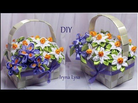 МК: Квіти канзаші у кошику /МК: Цветы канзаши в корзинке из атласных лент/DIY Kanzashi flowers - videosfortube Unblock Youtube