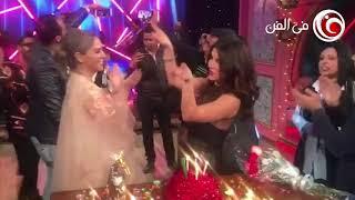 شاهد غادة عادل ترقص في عيد ميلادها مع شيرين رضا