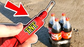 LOOK WHAT HAPPENS WHEN YOU EXPLODE 4 COCA COLA BOTTLES!! - EXPERIMENT AT HOME