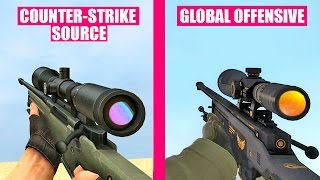 Counter-Strike Global Offensive Gun Sounds vs Counter Strike Source