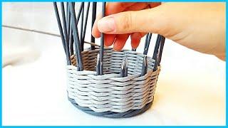 2 способа наращивания стоек (плетение из газетных трубочек)