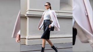 Leather Skirt Walking - Beauty bloggers