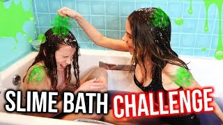 SLIME BATH CHALLENGE WITH MY LITTLE SISTER!! *HILARIOUS | Lovevie