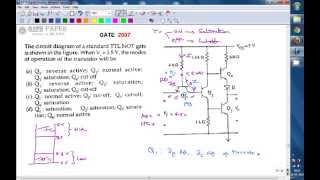 GATE 2007 ECE Operating modes of transistors in standard TTL NOT gate