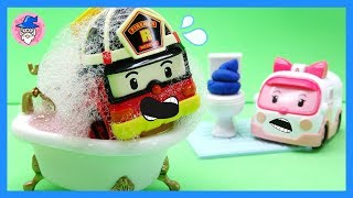 ROBOCAR POLI car wash, car shower tool, toy car bath. car toys video.