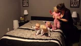 See This Mom Wrangle Her Infant Triplets While Getting Them Ready For Bed