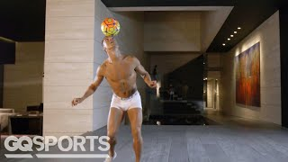 Watch Human Statue Cristiano Ronaldo Juggle a Soccer Ball in his Underwear