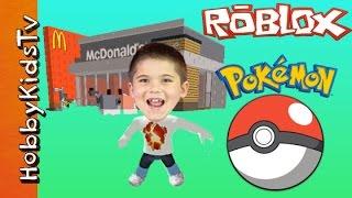 ROBLOX McDonalds + Pokemon! HobbyPig Plays Video Game and Card Game Time Family Fun HobbyKidsTV