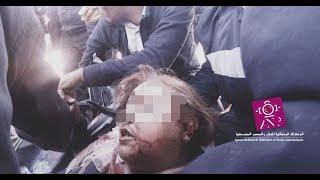 حصري بالفيديو..لحظة انقاذ امرأة من داخل سيارتها تحث انقاض انهيار حائط بلفيدير
