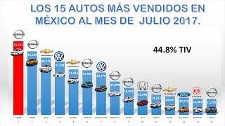 15 Autos más Vendios en Julio  México 2017