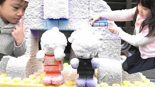 アンパンマン バイキン城 & パン工場 大雪注意!! ブロック おうち おもちゃ Anpanman Heavy snow warning Block Toy