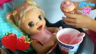 Feeding Layla (Baby Alive Learns to Potty) Strawberry Yogurt and Apple Juice🍓😊🍎