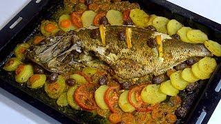 طريقة تحضير السمك بالخضار في الفرن ولا اروع لذيذ جدا جدا جدااااااااا