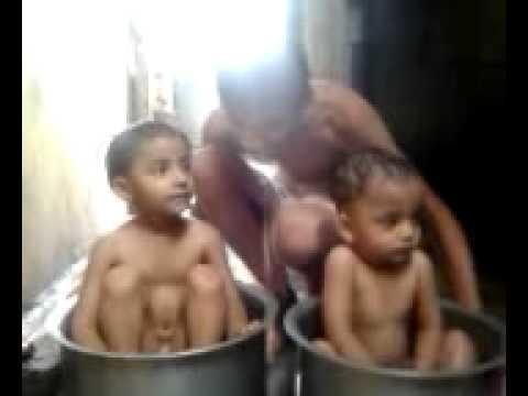 Khandeshi Kids Taking Shower.mp4