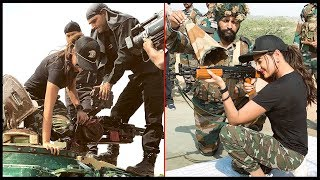 Sonakshi Sinha With Indian Soldiers, Tries Armed Rifles, Plays Volleyball