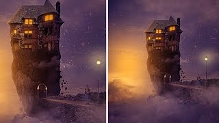 Photoshop Tutorial Manipulation Fantasy : House on the island | Floating island sky fantasy castle