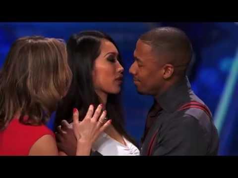 ANGIE VU HA kissing Nick Cannon on America s Got Talent