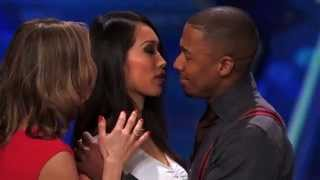 ANGIE VU HA kissing Nick Cannon on America's Got Talent