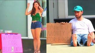 Hot Girl VS Homeless Man! (Social Experiment)