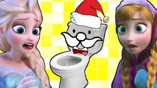 ♥♥ Elsa meets toilet MONSTER ♥ with Anna ♥ on Christmas  ♥♥