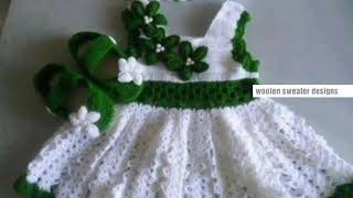 New sweater design for kids or baby in hindi | woolen frock for baby girl with woolen booties