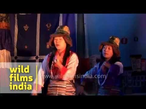 Bhutia womens' dance : Yangthang school, west Sikkim, India