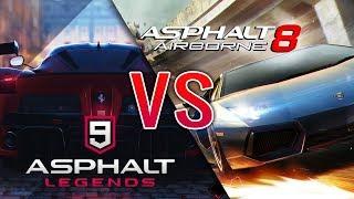 ASPHALT 9: Legends VS ASPHALT 8: Airborne - Gameplay Trailer Comparison (by: Gameloft)