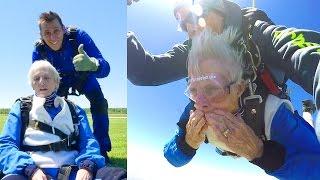 SHE DID IT!! **Grandma Skydives**
