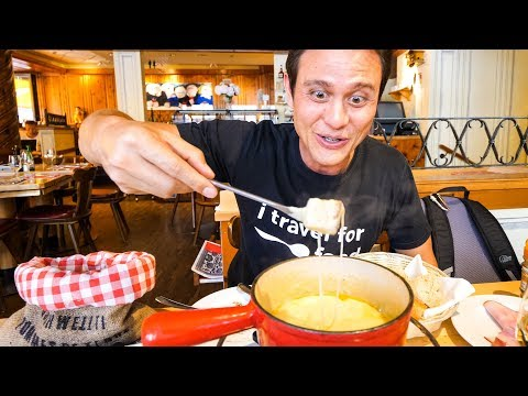 Swiss Food Tour CHEESE FONDUE and Jumbo Cordon Bleu in Zurich Switzerland
