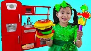Jannie Pretend Play Cooking BBQ w/ Cute Kitchen Play Set Kids Food Toys