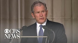 Former President George W. Bush delivers final eulogy at father
