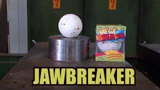 Crushing Jawbreaker with hydraulic press