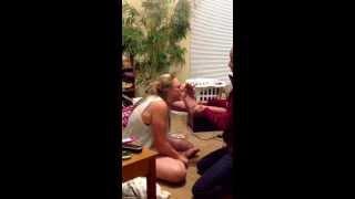 Kissing her feet!:p