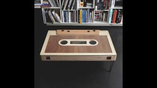 Cassette table, Vintage mixtape with secret slide - by Woodds