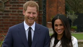 Engaged Prince Harry and Meghan Markle appear