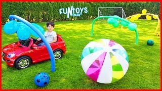 Learn Colors with Balloons Cars Race for Kids | Play Soccer with Colors Balls and Huge Soccer Ball