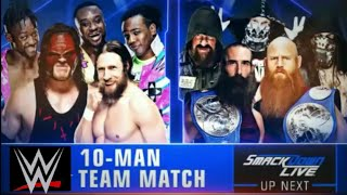 Tag Team Match Up (The New Day, Team Hell No, Santy)   WWE Smackdown Live july 10th 2018