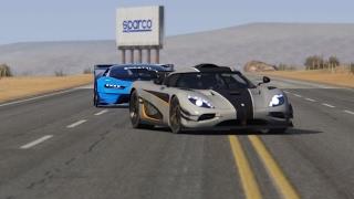 Bugatti GT Vision vs Koenigsegg One:1 at Black Cat Country